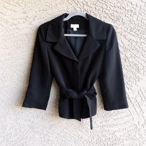 LOFT Black Textured Belted Career Blazer Jacket